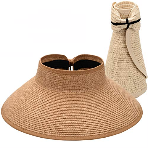 Maylisacc Foldable Straw Sun Visors for Women