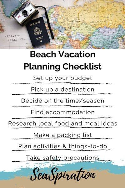 beach vacation planning checklist