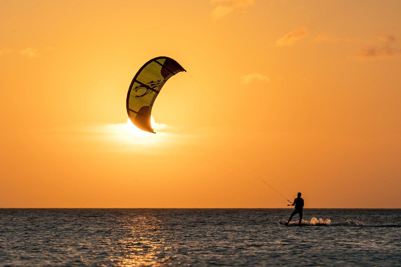 Kitesurfer at sunset in Aruba