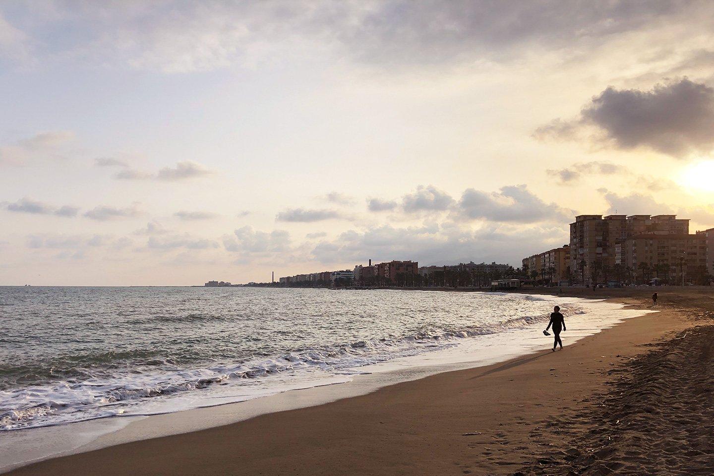 Sunset at Malaga beach