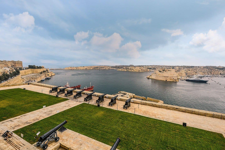 Valletta grand harbor in winter