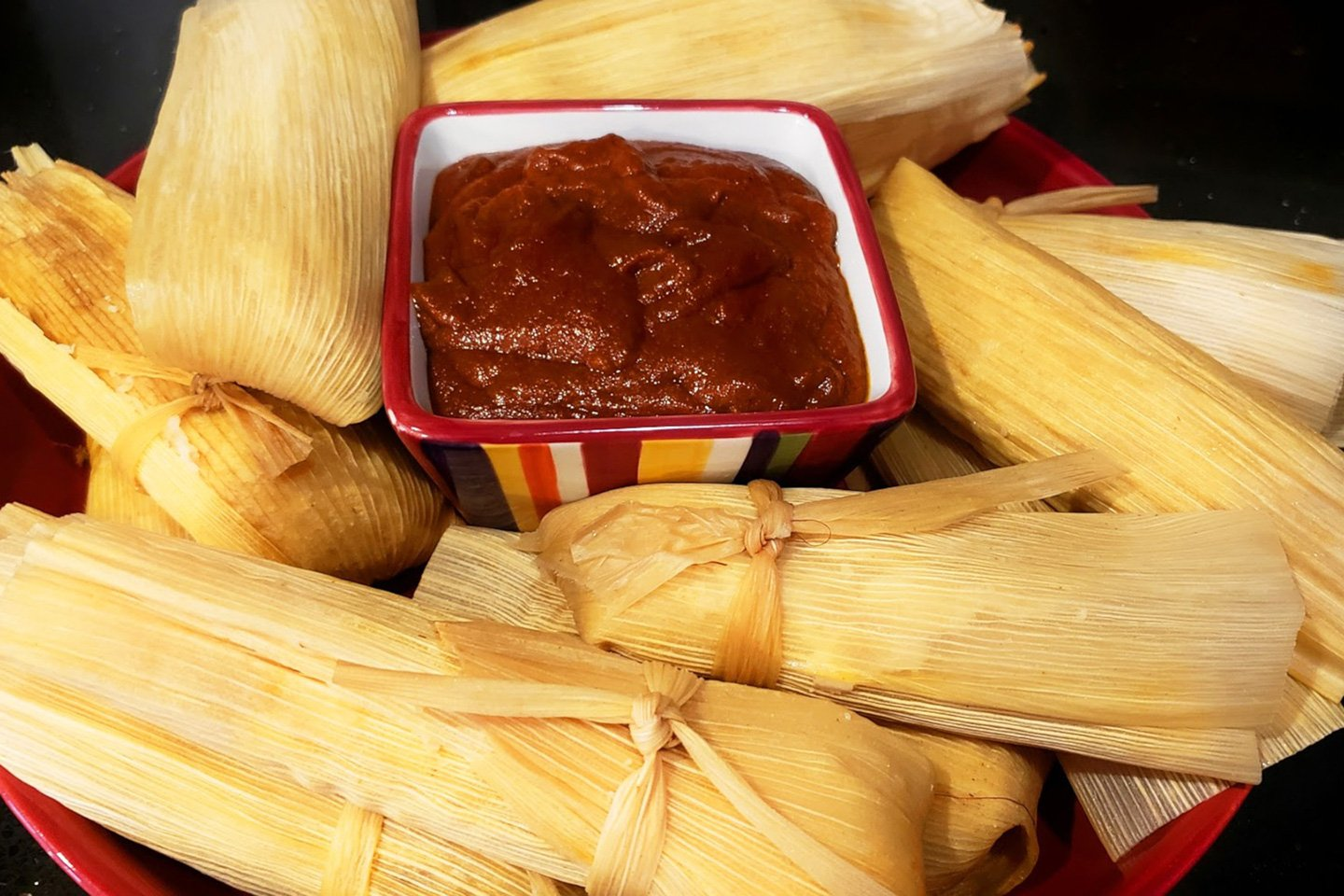 tamales with sauce