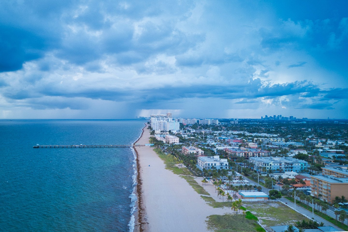 Lauderdale by the Sea drone photo on a cloudy day