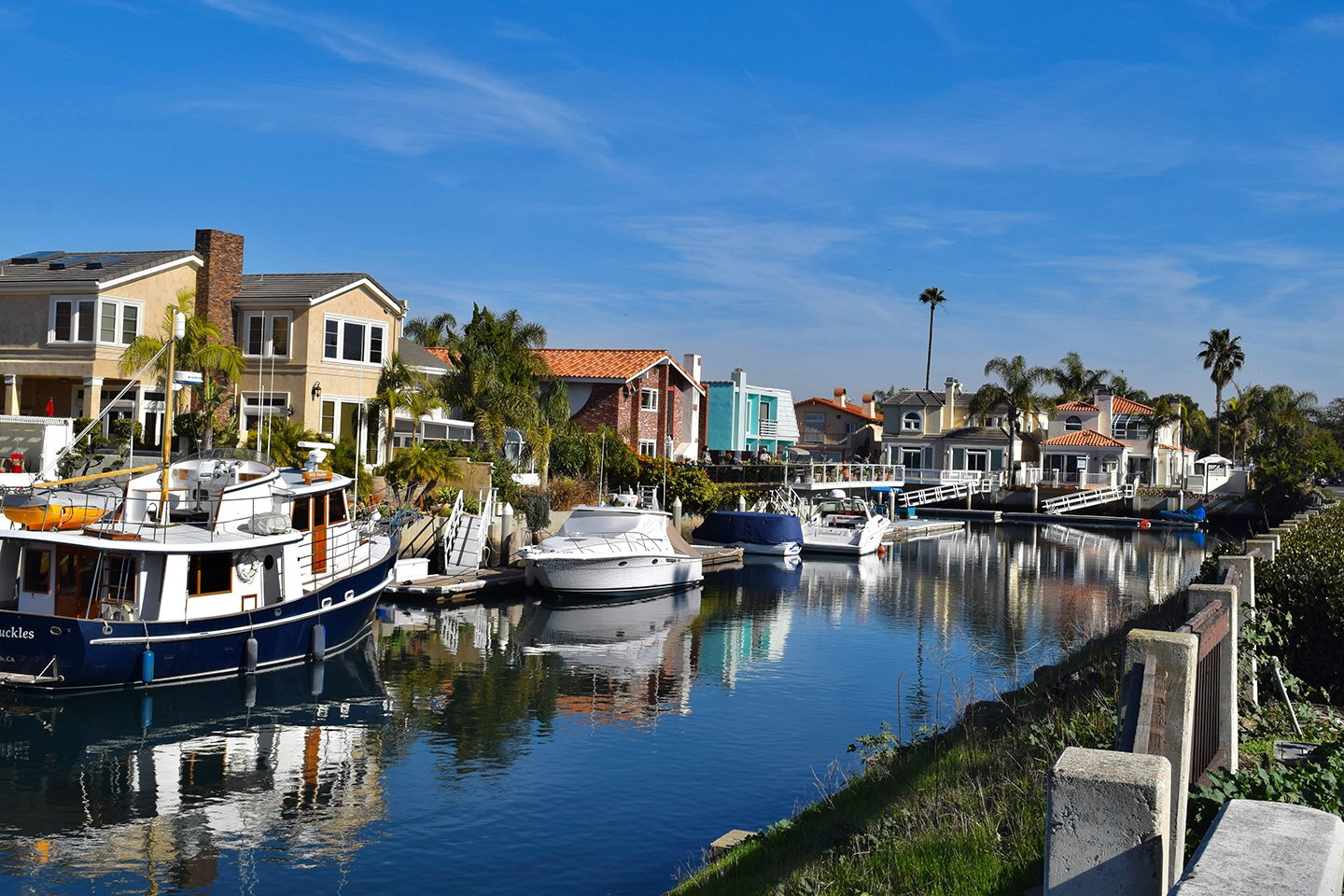 Boats in the canal in Oxnard CA