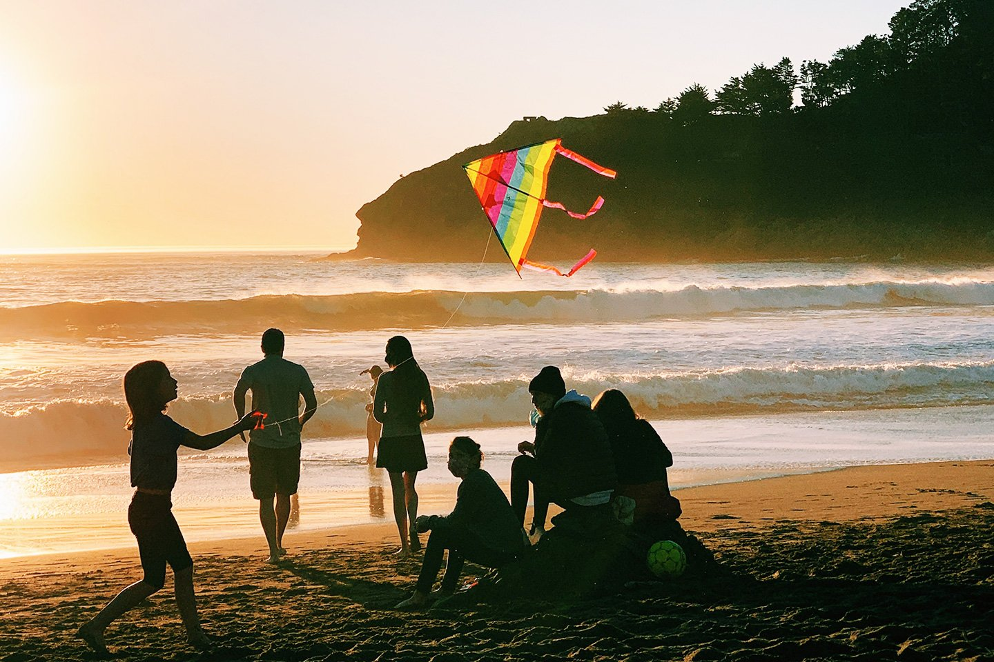 Family with kite at muir beach