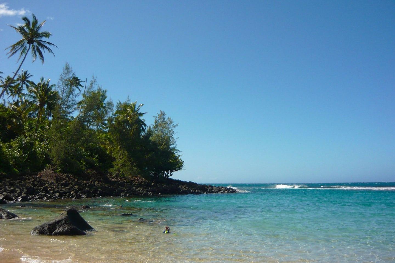 Snorkeler at Kee beach