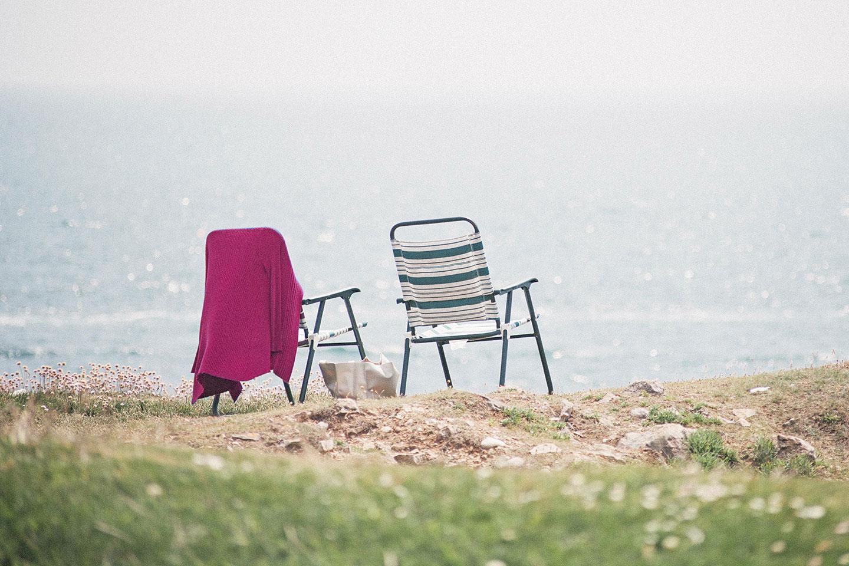 Beach picnic chairs near the sea