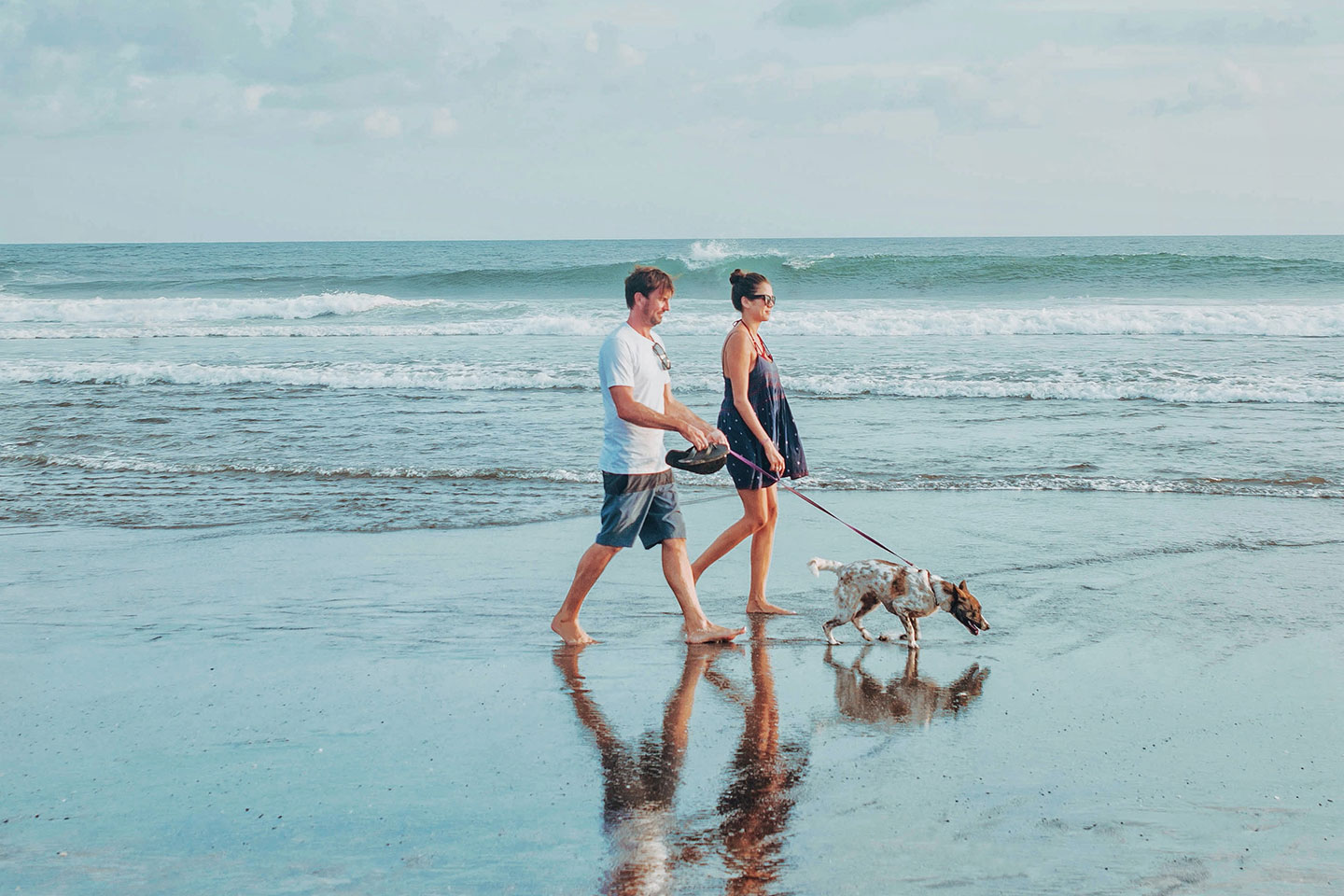 Couple is walking with a dog at the beach in Florida